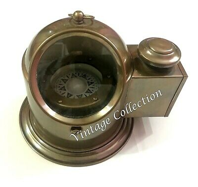 Antique Brass Floating Dial Binnacle Gimbled Compass Nautical Ship/Boat Oil Lamp