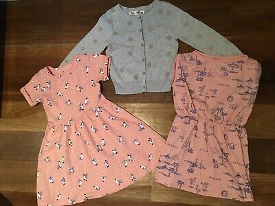 Girls Summer Dresses And Cardigan, Size 4-5