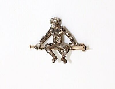 A Cute Antique Art Deco 9ct 375 Rose Gold & Silver Paste Monkey Brooch #13472