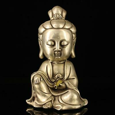 china old Copper plating silver hand-made gold drawing kuanyin statue f01A