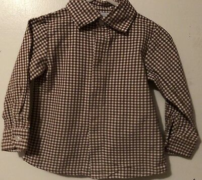 Baby Boy Boutique Little English Brown/white Gingham Long Sleeve Shirt 9 Months