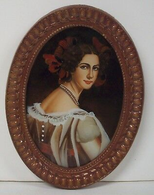 """Antique Victorian Reverse Painted Oval Portrait Woman Beautiful Bows Pearls 9"""""""