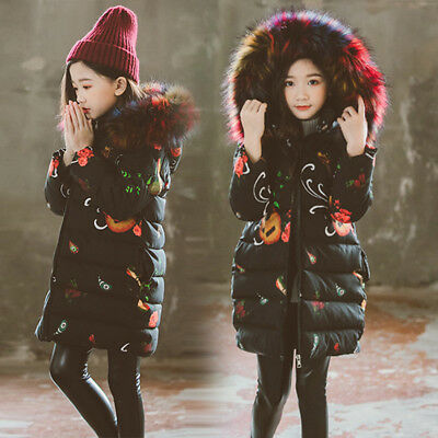Warm Winter Hooded Coat Baby Girls Kids Padded Thick Parka Long Color Fur Jacket