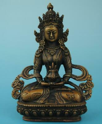 Antique china hand made copper Amitayus Buddha statue old collect c02