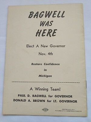 Vintage Paul D Bagwell Michigan Governor Candidate Election Political Brochure