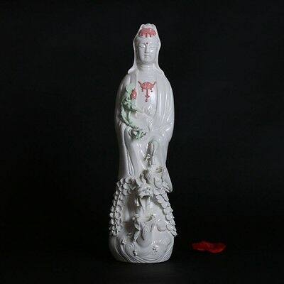 Chinese old beautiful Dehua Porcelain hand-carved Kwan-yin Statue d01