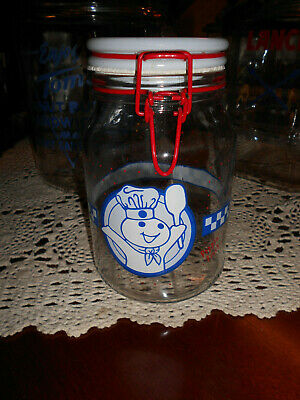 """vtg 8"""" Anchor Hocking Pillsbury Doughboy Poppin' Fresh candy Cookie Canister"""