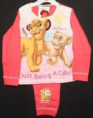 Disney's LION KING Girl's Pyjamas/ Long-Sleeved Coral Pink PJs 18 Months-5 Years