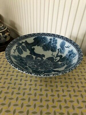 Vintage Japanese Blue And White Porcelain Fruit Bowl 22cm Wide