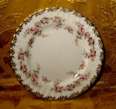 "Royal Albert *Dimity Rose* Salad Plate 8 1/8"" Gold Trim Made In England"