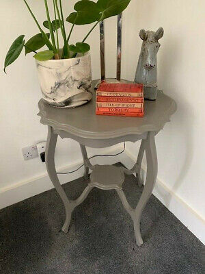 Lovely Antique Upcycled Bow Legged Lamp Table Painted in Farrow and Ball