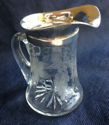 RARE Sterling Silver Grape Vine Pattern Etched Crystal Pitcher -Merrill Shops NY