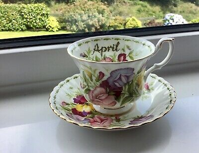 Vintage Royal Albert, April, Sweet Pea, cup & saucer. Flower of the Month series