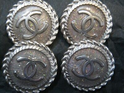 CHANEL  4 AUTHENTIC SILVER METAL cc 18 MM BUTTONS THIS IS FOR FOUR