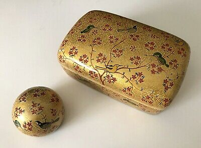 Vintage Oriental Lacquered Paper Mache Chinoiserie Box & Paper Weight