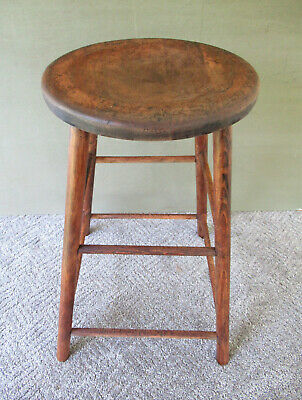 "Antique Stool Vintage Primitive Pine Hickory Wood 25"" Tall, 13"" Round Seat Stand"
