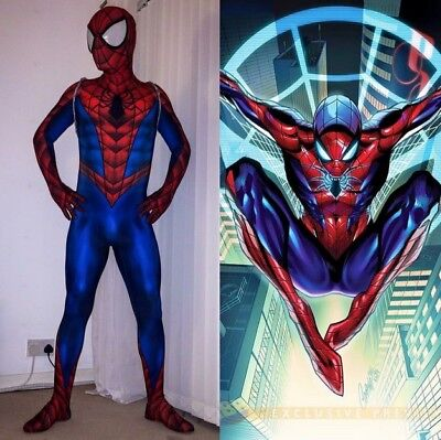 NEW Comic Glow Spiderman Cosplay Costume Adult 3D Spandex Hallween Zentai Suit