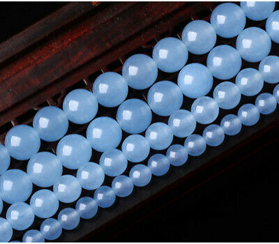 """6mm 8mm 10mm 12mm Natural Blue Jade Chalcedony Round Gemstone Loose Bead 15"""" AAA"""