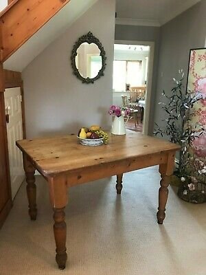 Vintage Pine Kitchen Dining Table 4ft Four Seater Rustic Farmhouse Country Style