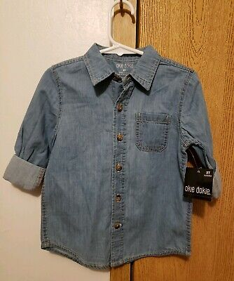 Boys Toddler 3T Long Sleeve Shirt Blue Chambray Button Down - Okie Dokie NWT $24