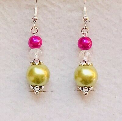 Stunning Hot Pink & Peridot Green Glass Pearl & Crystal Drop Earrings