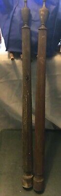 ANTIQUE Pair WOOD SALVAGE COLUMN POST Column Mirror Rack Flutted Mahogany