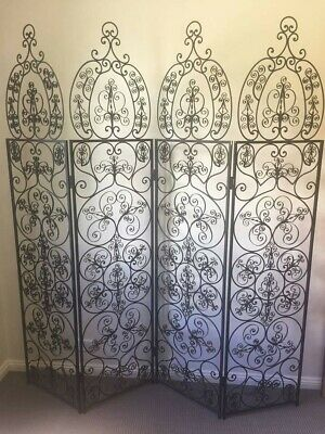 Antique 4 panel Wrought Iron Screen