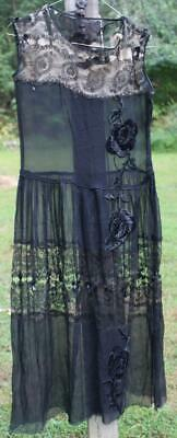Antique Black Lace Dress 1910-1920s Era Stunning Roses Fragile for Display Only