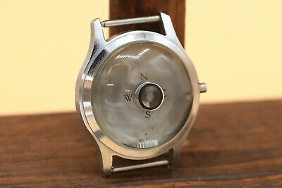 Vintage ID watch case co stainless steel wearever compass in crystal RARE 34mm