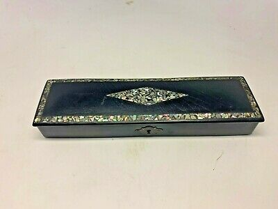 Antique Germany Black Lacquer Pen Box Abalone Mother of Pearl Inlay 1800s