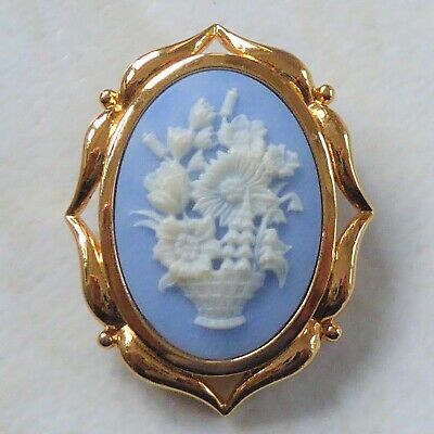 Victorian Style Brooch White Flower Basket Cameo on Blue Resin Gold Metal Frame