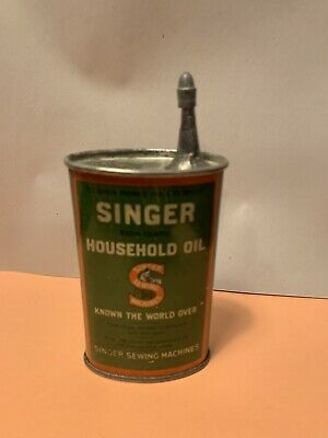 Antique Singer Oiler Handy Oil Tin Can Sewing Machine/ RARE Offset Spout