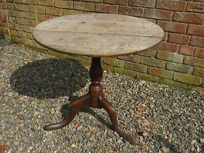 Antique Victorian Oak Pedestal  Round Tilt Top Table