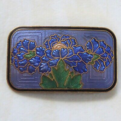 Vintage Brooch Beautiful Blue Cloisonne Enamel Flowers signed Crown Fish