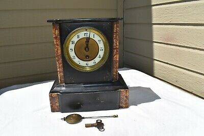 Antique  Petite French / Japy Freres ? Black Slate  Marble Mantle Clock