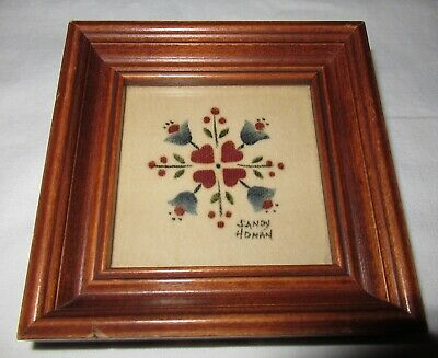 Vintage Hearts and Tulips small theorem painting signed Sandy Honan