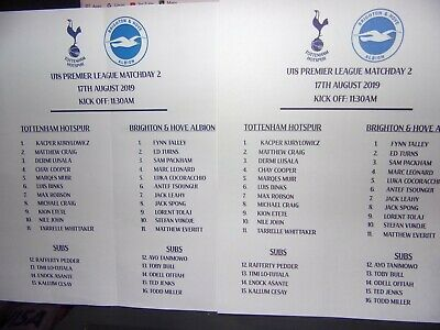 Tottenham V Brighton &  Hove Albion Official 2016/17 Two Sided Teamsheet