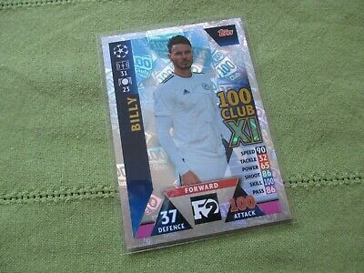 Match Attax Attack Champions League 2018/19 F2 Billy Wingrove 100 Club Card