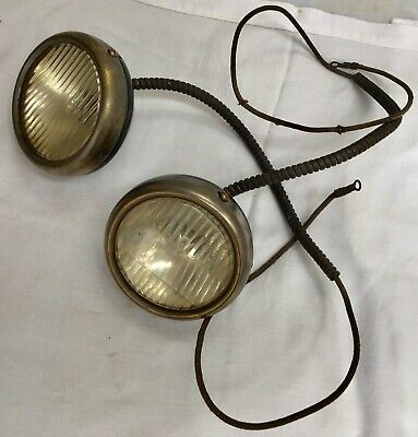 2-vintage FORD Model A T Chevy antique car old hot rod•DRIVING LIGHTS fog LAMPS•