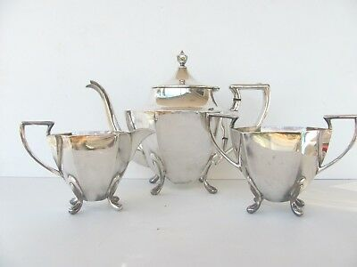 Vintage 3 Piece 1881 Rogers Bachelor Silver Plated Hexagonal  Footed Tea Set