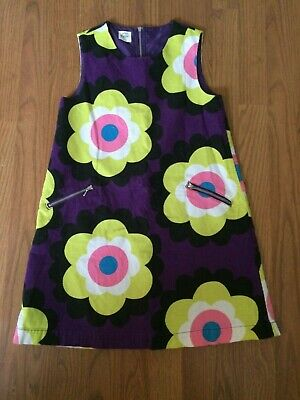"Mini Boden Girls Corduroy Dress Jumper Size 9 10 Y-- 29"" Length Purple Floral"