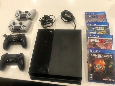 Sony PlayStation 4 (PS4) - 500 GB Jet Black Console Bundle W/5 Contllers+4 Games