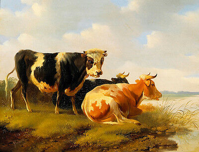 Large art Oil painting animal cows by the river in landscape canvas