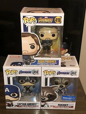 Captain America, Bucky Barnes, Rocket Walmart Exclusive Marvel Funko POP Lot
