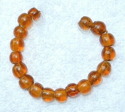 18 BEAUTIFUL OLD VINTAGE TRANSLUCENT AMBER CHINESE PEKING GLASS 9mm BEADS NOS