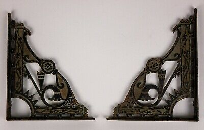 2 ANTIQUE Cast Iron Shelf Bracket Aesthetic Movement Eastlake 8 3/4 X 7 Ornate