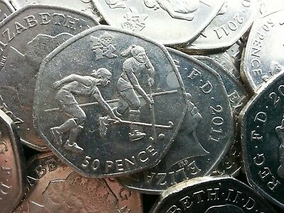 Olympic 50p. London 2012. HOCKEY. Fifty pence. Circulated.