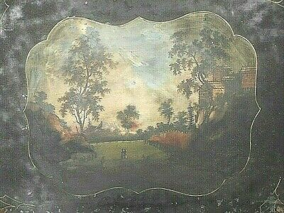 ANTIQUE 19th CENTURY TOLEWARE SERVING TRAY WITH HAND PAINTED COUNTRY SCENE