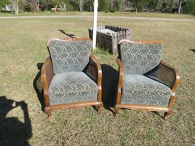 Chairs (2) Antique Carved Wood, Cane & Cushions (French Provincial Style)