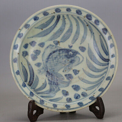 Chinese old hand-carved porcelain Blue & white fish grass pattern plate c01